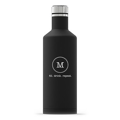 Times Square Travel Bottle - Matte Black - Typewriter Monogram Printing