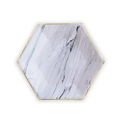 Gold and Marble Hexagon Paper Plates - Small