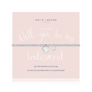 Will You Be My Bridesmaid Silver Bracelet with Heart Charm