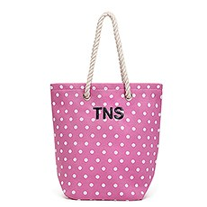 Large Personalized Polka Dot Cabana Nylon/Cotton Blend Beach Tote Bag- Pink