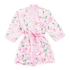 Petite Watercolor Floral Silky Kimono Robe on Pink