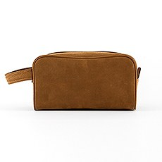 Tanned Genuine Leather Travel Toiletry Bag
