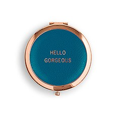 Personalized Engraved Faux Leather Compact Mirror - Hello Gorgeous