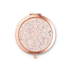 Personalized Rose Gold Glitter Compact Mirror