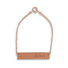 Horizontal Rectangle Tag Bracelet - Rose Gold