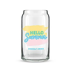 Personalized Can Shaped Drinking Glass – Hello Summer Print
