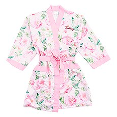 Women's Personalized Embroidered Floral Satin Robe with Pockets - Light Pink
