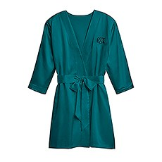 Women's Personalized Embroidered Satin Robe with Pockets - Hunter Green