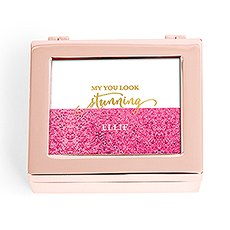 Small Modern Personalized Jewelry Box - Glitter Foil Print