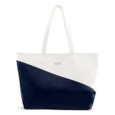 Large Personalized Color Block Faux Leather Tote Bag- Navy Blue & White
