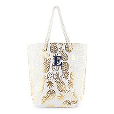 Personalized Monogrammed Cotton Canvas Beach Tote Bag- Gold Pineapple Print