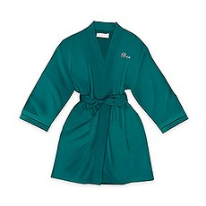 Personalized Junior Bridesmaid Satin Robe with Pockets - Hunter Green