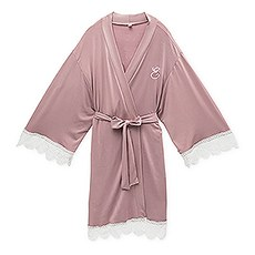 Women's Personalized Jersey Knit Robe with Lace Trim - Mauve