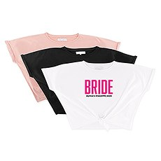 Personalized Bridal Party Tie-Up Wedding Shirt - Glam Bride