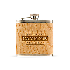 Wood Wrapped Hip Flask - Best Man Block Etching