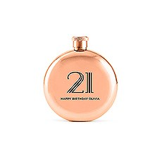 Polished Rose Gold Hip Flask - Vintage Glam Etching