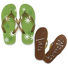 "Graphic Daisy ""Just Married"" Flip Flop Sandals"