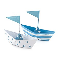Blue and White Polka Dot and Striped Boat Favors