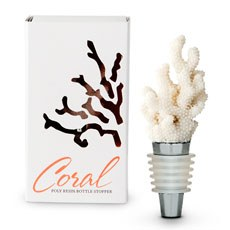 White Coral Wine Bottle Stopper Favor Gift Boxed