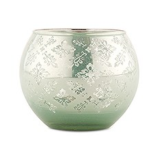 Large Glass Globe Votive Holder With Reflective Lace Pattern - Daiquiri Green