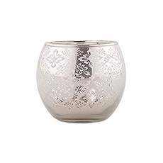 Small Glass Globe Votive Holder With Reflective Lace Pattern - Silver
