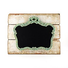 Ornate Vintage Chalkboard Mounted on Faux Wood
