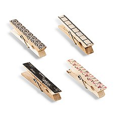 Vintage Wooden Clothespins with Romantic Black and Pink Pattern