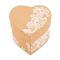 Heart Kraft Paper Favor Box with Vintage Lace Print