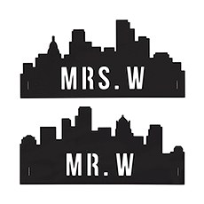 Personalized Industrial Cityscape Silhouette Black Acrylic Wedding Chair Signs