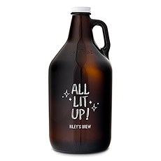 Personalized Glass Beer Growler - All Lit Up! Printing