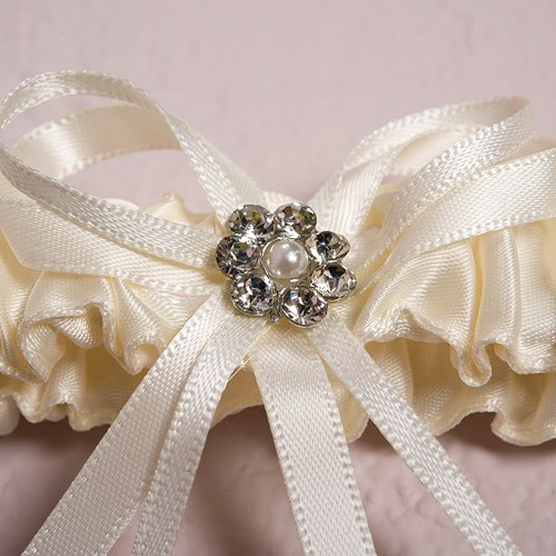 Crystal Wedding Garter: Scattered Crystals Ivory Wedding Garter Set