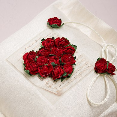 Flower of Love In Romantic Red Square Wedding Ceremony Ring Pillow