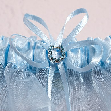Blue Crystal Bridal toss Wedding Garters