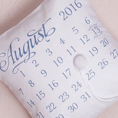 Notable Personalized Ring Pillow with Wedding Date Design