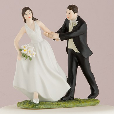 A Race to the Altar Couple Wedding Cake Topper