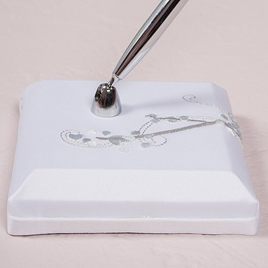 Love Bird in Classic White Satin Wrapped Base with Pen
