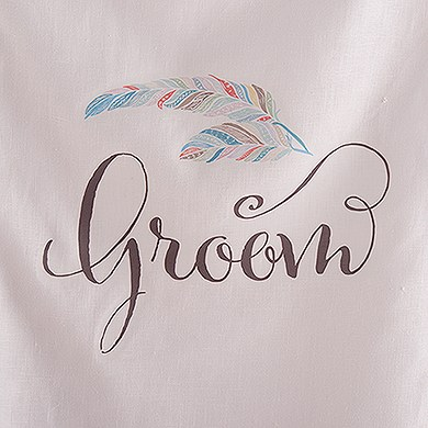 Feather Whimsy Personalized Bride and Groom Chair Banner Set