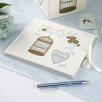 Vintage Romantic Duck Egg Blue and Gold Guest Book