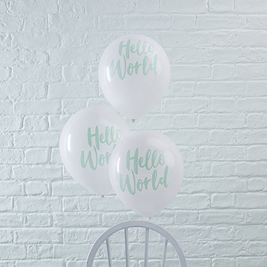White & Mint Hello World Balloons - 10 Pack