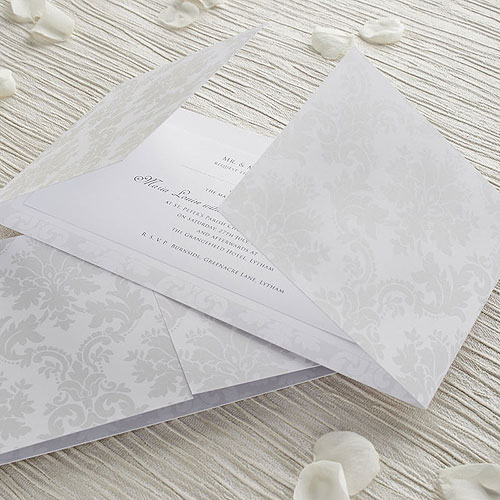 home white and pearl damask gatefold invitation diy kit 10 pack