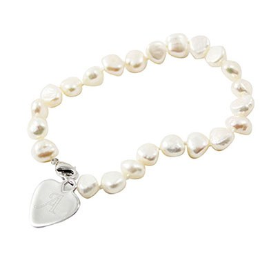 White Pearl Bracelet Personalized