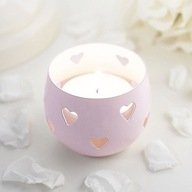 Pastel Pink Heart Detail Metal Tea Light Candle Holder