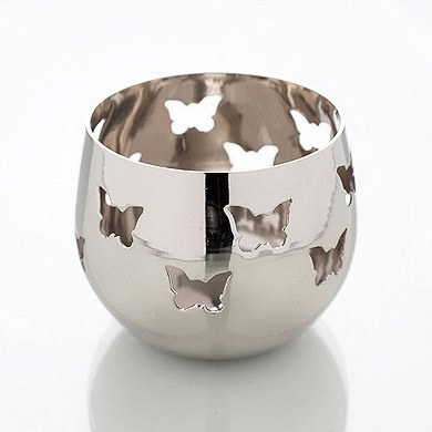 Silver Butterfly Detail Metal Tea Light Candle Holder