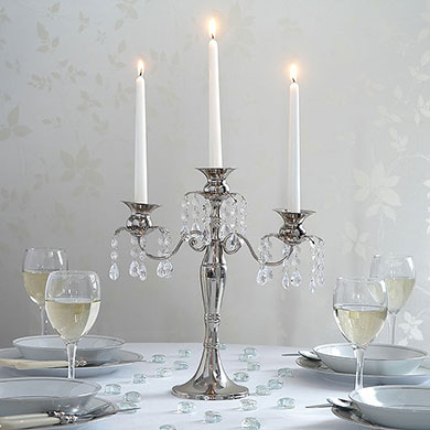Silver & Crystal Medium Candelabra