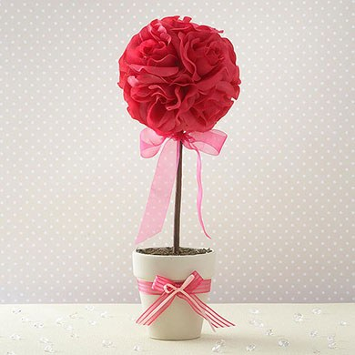 Topiary Tree Table Decoration Hot Pink