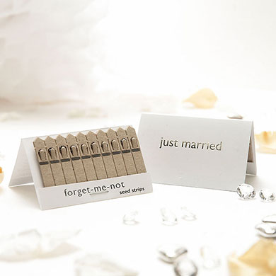 Silver and White Just Married Seed Wedding Favours from Confetti.co.uk