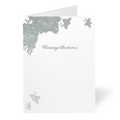 Lace Butterfly Design Wedding Stationery Evening Invitation