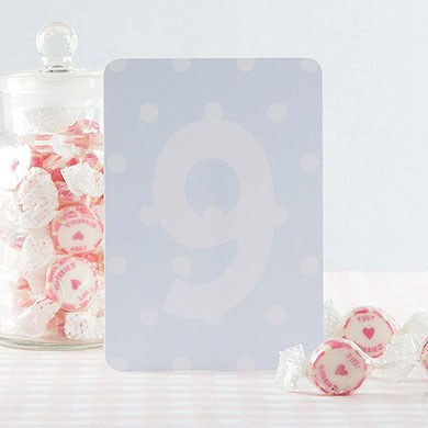 Shabby Chic Blue/White Table Numbers 1-15