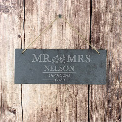 Bride & Groom 'Mr & Mrs' Slate Door Plaque   Personalised