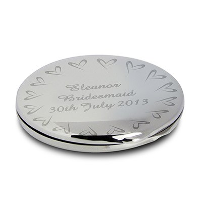 Compact Mirror With Small Heart Design   Personalised